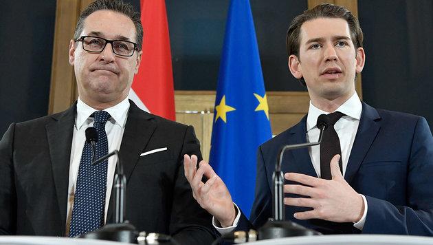 Heinz-Christian Strache (FPÖ), Sebastian Kurz (ÖVP) (Bild: APA/Hans Klaus Techt)