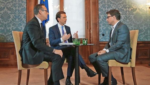 """Kurz und Strache: """"Wir rechnen mit Widerstand"""" (Bild: Peter Tomschi)"""