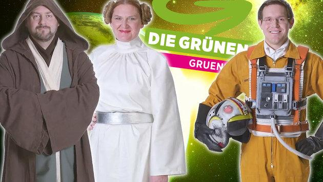 NÖ-Grüne: Für Wahlen lustig sein du musst ... (Bild: YouTube.com, stock.adobe.com, krone.at-Grafik)