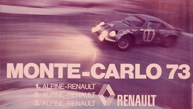 Werbeschild zur Rallye Monte Carlo 1973 (Bild: Renault)