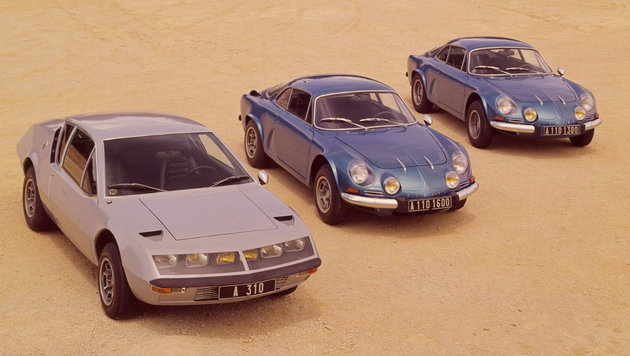 Alpine A 110 als 1300 (rechts), 1600 (Mitte), A 310 (links) (Bild: Renault)