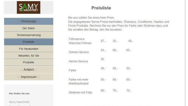 """""""Aufruhr um ungleiche Preise in Wiener Friseursalon (Bild: www.friseursamy.at)"""""""