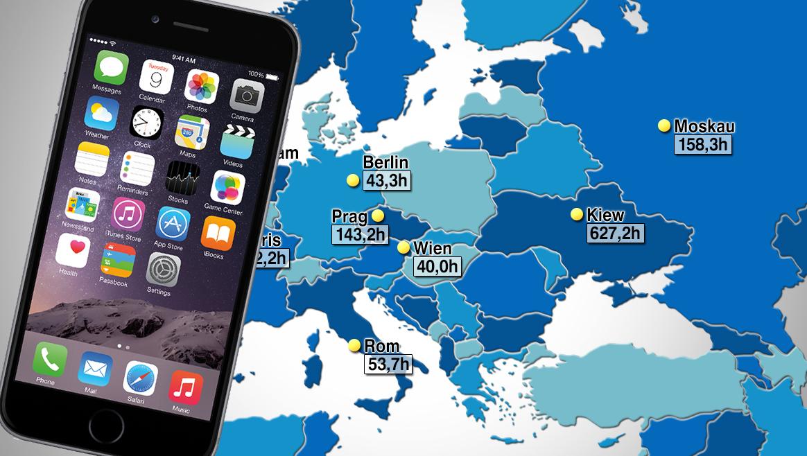 So lange müssen Wiener für ein iPhone 6 arbeiten  (Bild: thinkstockphotos.de, Apple)