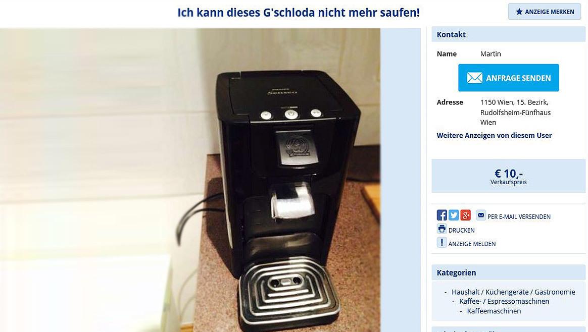 Wiener postet lustigste Verkaufsanzeige des Jahres  (Bild: willhaben.at)