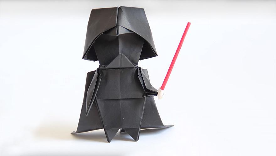Darth Vader aus Origami: So geht's!  (Bild: boredpanda.com)