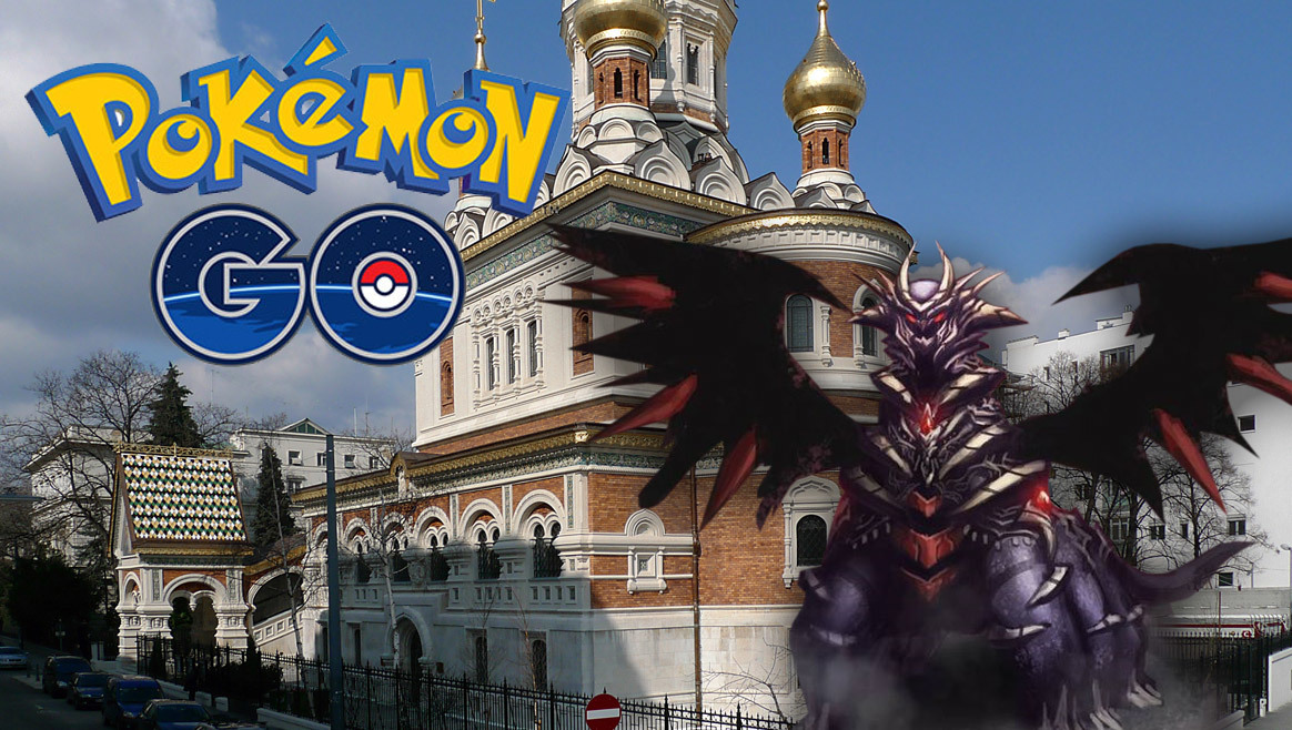 Teufels-Pokémon in orthodoxer Kirche im 3. Bezirk  (Bild: Thomas Ledl/Wikipedia, Niantic Labs Inc)