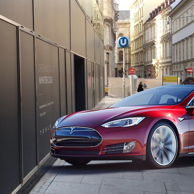 Tesla-Flagship-Store mitten in Wien geparkt! (Bild: City4U, tesla.com)