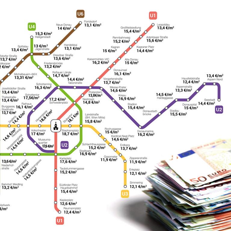 U-Bahn-Map mit Mieten: Gasometer am billigsten (Bild: zoomsquare, Thinkstockphotos.de)
