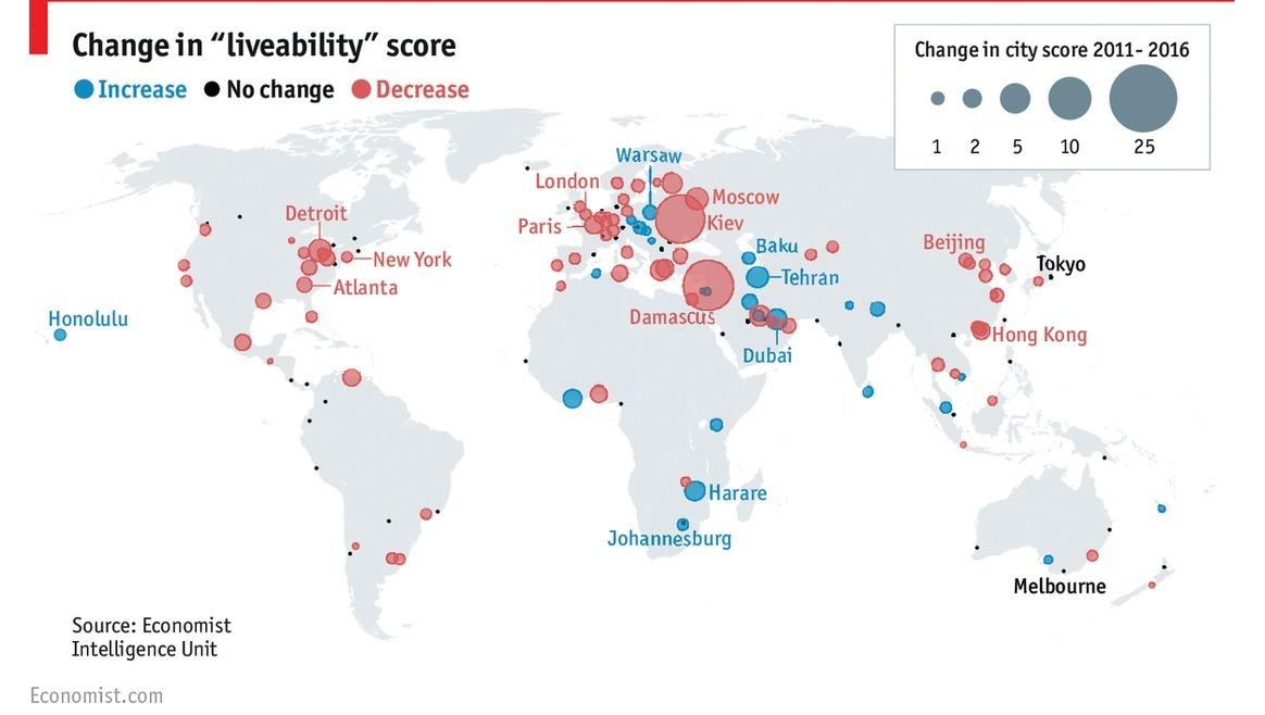 Die lebenswertesten Städte der Welt: Melbourne, Wien, Vancouver