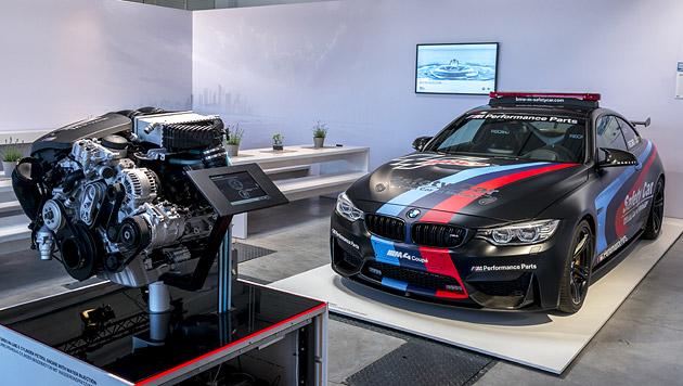 Das MotoGP-Safety-Car, der BMW M4 mit Saugrohr-Wassereinspritzung (Bild: BMW)
