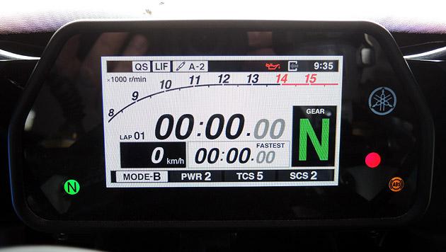 Track-Modus mit Stoppuhr. Darunter kann man sich u.a. die best lap anzeigen lassen.