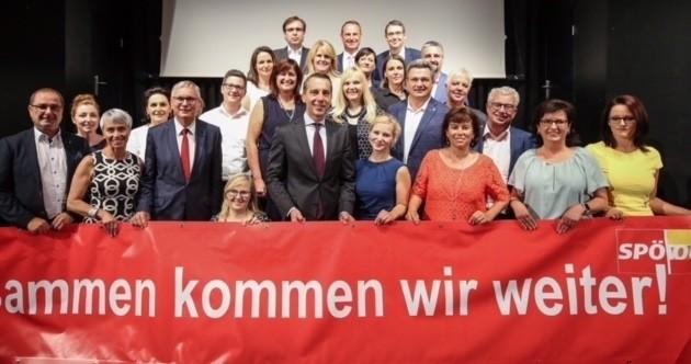 Einige der Kandidaten und Kandidatinnen der Landes-SPÖ mit Kanzler Kern und Listenführer Stöger. (Bild: SPÖ)