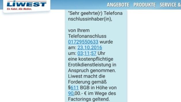 Mit solchen betrügerischen SMS oder Briefen werden derzeit LIWEST-Kunden bombardiert.