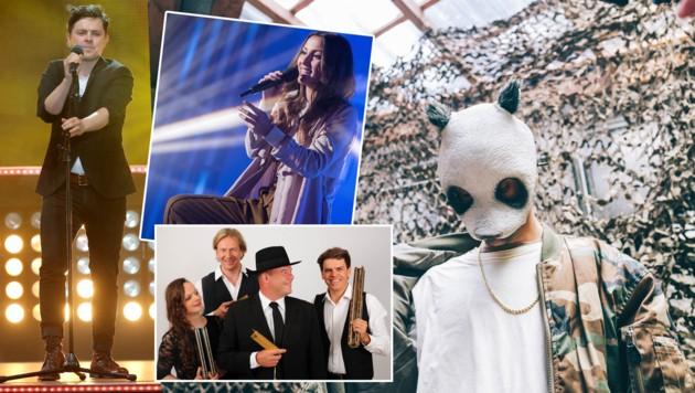 Goldstars: M. P. Kelly (l.), Cro (r.), Namika (kl. Bild o.) und das Mundharnomika Quartett Austria. (Bild: DPA, Fellner, MV, picturedesk.com)