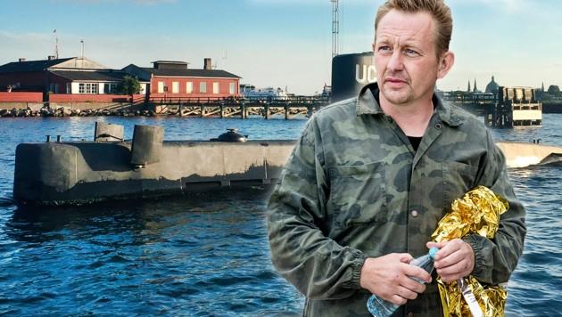 """Peter Madsen, im Hintergrund die """"Nautilus"""" (Bild: AFP/Bax Lindhardt AFP/Anders Valdsted, krone.at-Grafik)"""