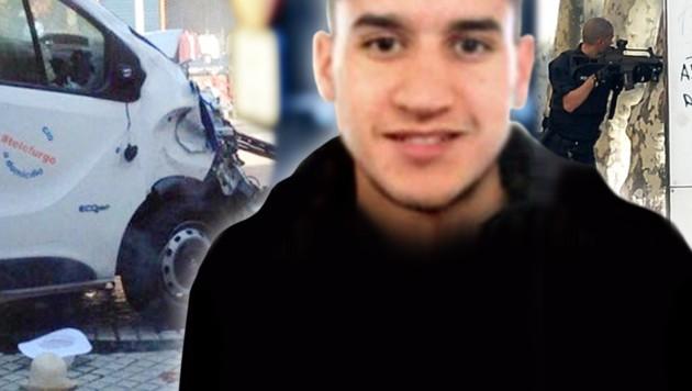 Er steuerte nach Auffassung der Polizei den Todesvan: Younes Abouyaaqoub (22) ist auf der Flucht. (Bild: AFP, AP, twitter.com, krone.at-Grafik)