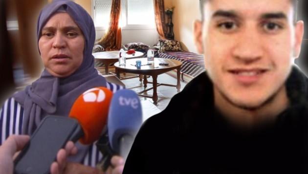 Die Mutter des Hauptverdächtigen Younes Abouyaaqoub (22) bittet ihren Sohn, dass er sich stellt. (Bild: AFP, Televisio3, AP, krone.at-Grafik)