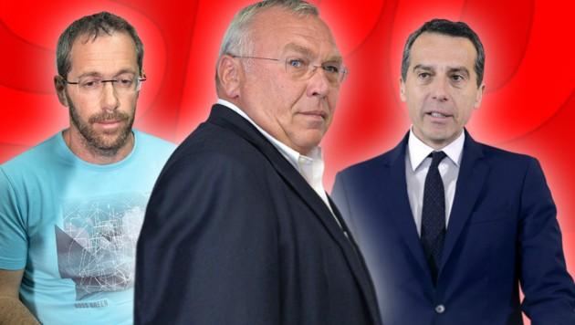 Tal Silberstein, Alfred Gusenbauer, Christian Kern (v.l.) (Bild: AFP,APA/BARBARA GINDL, APA/CHRISTOPHER DUNKER, krone.at-Grafik)