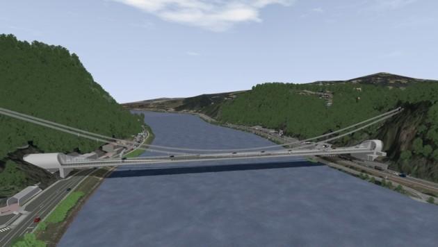 """So wird sich die neue Linzer Donaubrücke im Zuge der A26 (""""Westring"""")über die Donau spannen."""