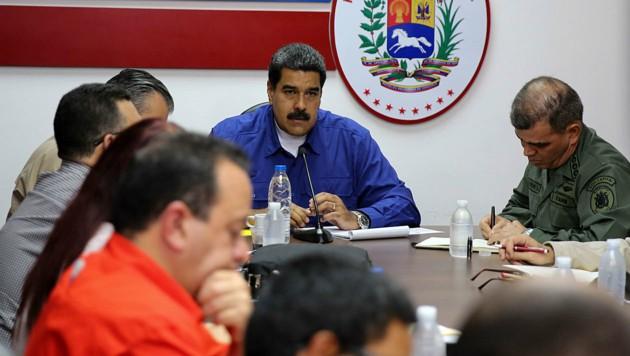 Venezuelas Präsident Nicolas Maduro während einer Kabinettsitzung in Caracas