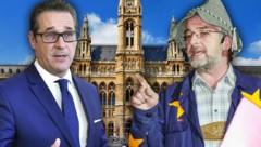 "FPÖ-Chef Heinz-Christian Strache, ""EU-Bauer"" Manfred Tisal (Bild: APA/HANS PUNZ, ORF, stock.adobe.com, krone.at-Grafik)"