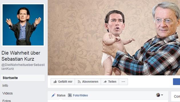 """Die mittlerweile gelöschte Facebook-Hetz-Seite """"Die Wahrheit über Sebastian Kurz"""" (Bild: facebook.com)"""