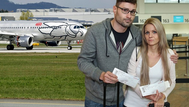 Patrick H. und Jutta M. saßen zwei Tage lang auf dem Flughafen Wien fest. (Bild: Peter Tomschi, Markus Tschepp)