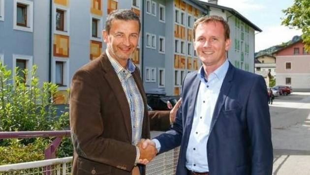 Georg Ortner von den ÖBB (re.) und Bürgermeister Andreas Haitzer. (Bild: Gerhard Schiel)