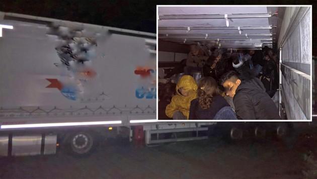 In diesem Lkw waren die 51 Iraker zusammengepfercht Richtung Berlin unterwegs. (Bild: Bundespolizei)