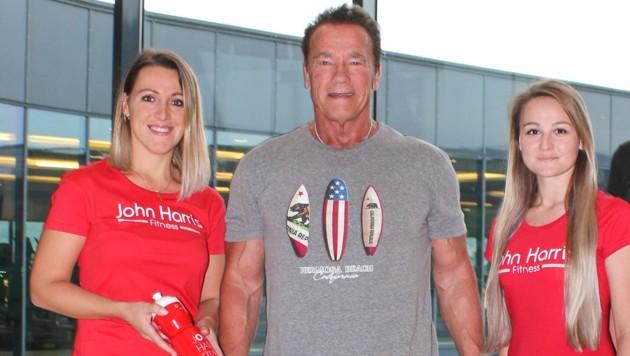 Arnold Schwarzenegger hielt sich am Tag nach Kreisel-Opening im John Harris Donaupark Linz fit. (Bild: John Harris)