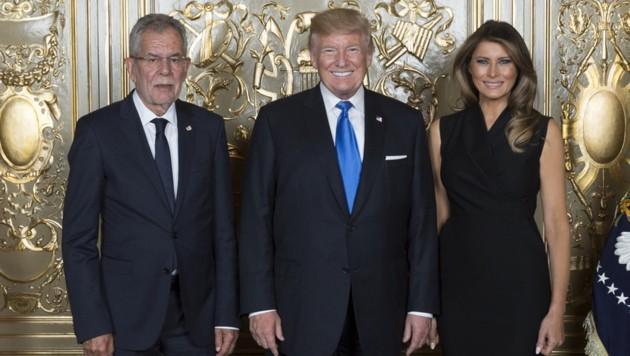 Bundespräsident Alexander Van der Bellen mit Donald und Melania Trump im UNO-Hauptquartier in New York im September 2017