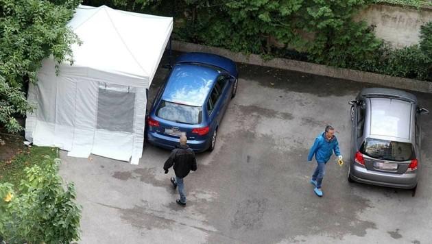 Der Tatort im Hinterhof eines Wohnhauses in der Puchsbaumgasse (Bild: Andi Schiel)
