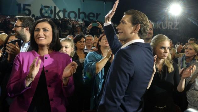 ÖVP-Parteichef Sebastian Kurz beim Wahlkampfauftakt in der Stadthalle (Bild: APA/HERBERT PFARRHOFER)