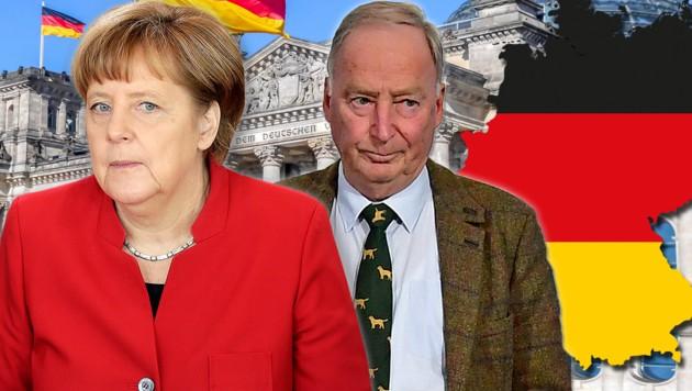 Neue Umfrage aus Deutschland: Die Union mit Kanzlerin Angela Merkel sackt auf 28 Prozent ab. Zweiter ist mit 18 Prozent bereits die AfD unter Parteichef Alexander Gauland. (Bild: AP, APA/AFD, stock.adobe.com, krone.at-Grafik)