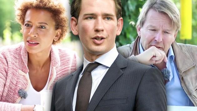 Arabella Kiesbauer und Serge Falck werben für Sebastian Kurz. (Bild: APA/HERBERT NEUBAUER, ÖVP, krone.at-Grafik)