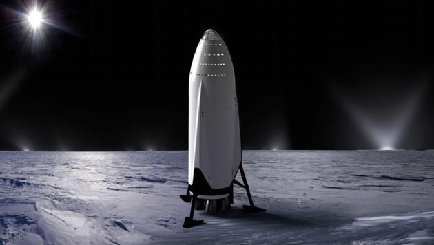 Künstlerische Illustration: Eine Big Fucking Rocket von SpaceX (Bild: SpaceX)