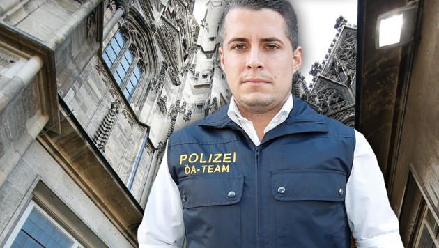 Polizeisprecher Harald Sörös vor dem Stephansdom in Wien (Bild: Reinhard Holl, krone.at-Grafik)