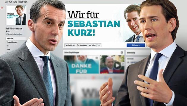 Kanzler Christian Kern steht wegen der Hetz-Seiten gegen ÖVP-Chef Sebastian Kurz unter Druck. (Bild: APA, AFP, facebook.com, krone.at-Grafik)