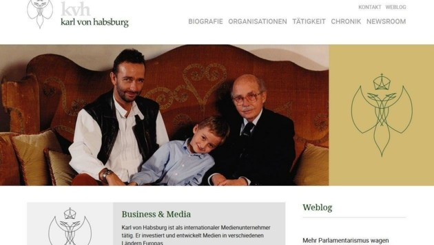 """Habsburg-Homepage mit Biografie, Tätigkeit und """"heißem Draht"""" zu Karl Habsburg. (Bild: www.karlvonhabsburg.com)"""