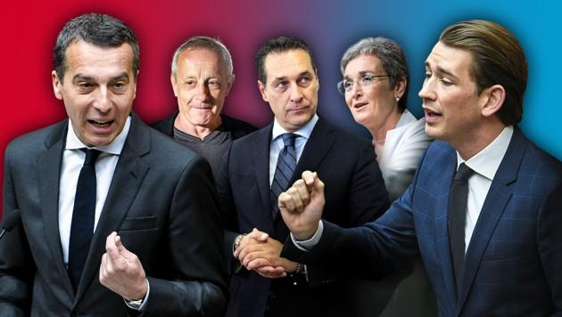 Spitzenkandidaten der Nationalratswahl 2017 (Bild: APA, krone.at-Grafik)