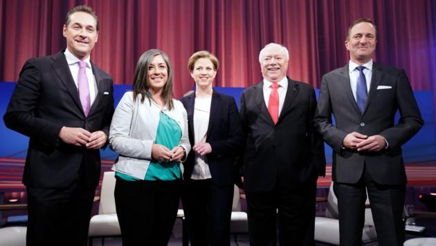 Heinz-Christian Strache, Maria Vassilakou, Beate Meinl-Reisinger, Michael Häupl und Manfred Juraczka (Bild: APA/GEORG HOCHMUTH)