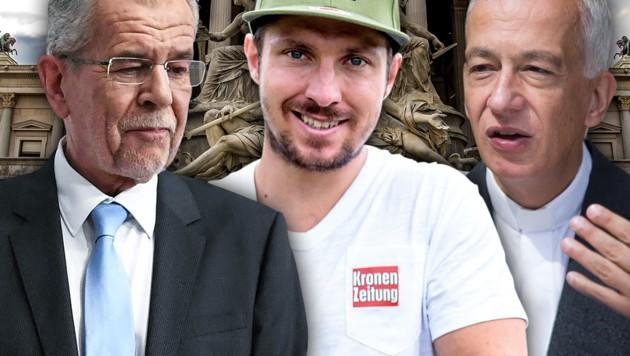 Bundespräsident Van der Bellen, Caritas-Präsident Landau und Ski-Star Hirscher sind besorgt. (Bild: APA, APA/EXPA/JFK, krone.at-Grafik)