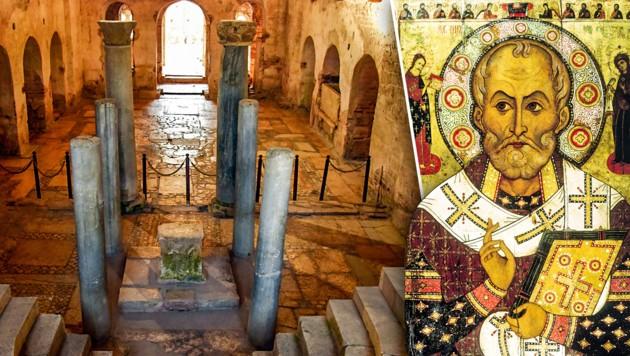 Liegen unter dieser Kirche die Gebeine von Nikolaus von Myra? (Bild: AP, wikipedia.org, krone.at-Grafik)