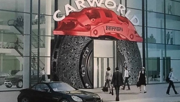 Der Eingang ist einer überdimensionalen Bremsscheibe nachempfunden. (Bild: Carworld)