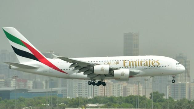 Ein Emirates-Airbus A380 in Dubai (Bild: AFP)