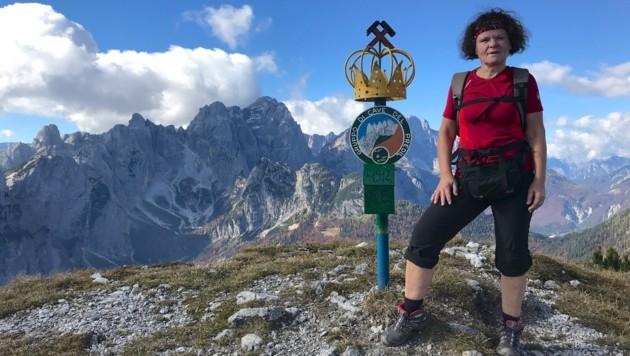 Sonja Kleindienst auf dem Gipfel des Monte Re (Bild: Hannes Wallner)