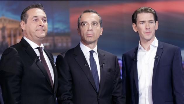 FPÖ-Chef Heinz-Christian Strache, SPÖ-Chef Christian Kern und ÖVP-Chef Sebastian Kurz (Bild: APA/GEORG HOCHMUTH)