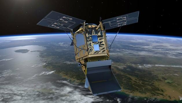 """Künstlerische Illustration: Der Satellit """"Sentinel-5P"""" im Erdorbit (Bild: ESA/ATG medialab)"""