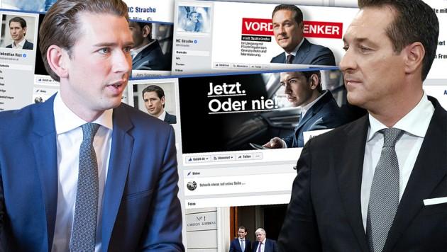 Buhlen bis zum Schluss um die Gunst der Fans auf Facebook: die Spitzenkandidaten Kurz und Strache (Bild: APA, krone.at-Grafik)