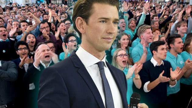 Sebastian Kurz nach seinem Sieg bei der Nationalratswahl 2017 (Bild: APA/ROBERT JAEGER, AFP, krone.at-Grafik)